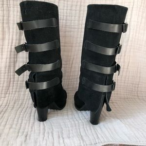 Black suede boots by Report